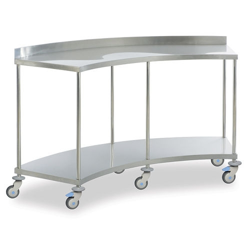 Медицинский металлический серповидный стол на колесах MAM 2160