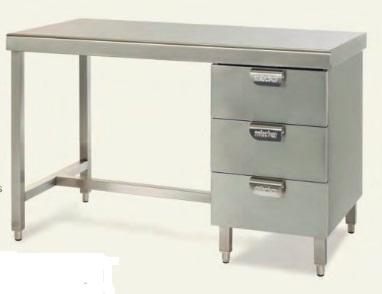 Медицинский металлический стол с ящиками - MCTC 1041