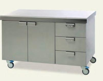Стол медицинский для инструментов с ящиком из нержавеющей стали