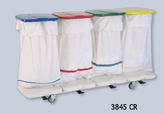 Медицинские тележки с мешкодержателями для сбора грязного белья и отходов
