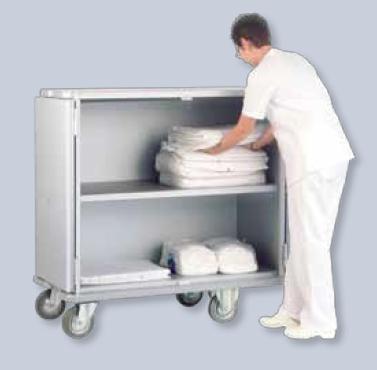 Тележки-шкафы из анодированного легкого сплава для транспортировки чистого белья