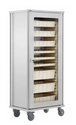 Металлический мобильный шкаф для хранения медикаментов с выдвижными ящиками 40517