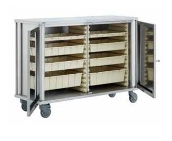 Тележка для медикаментов с выдвижными ящиками и дверцами 40677
