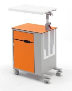Медицинская прикроватная металлическая односторонняя тумбочка со столиком 14-СР261 Вариант 1