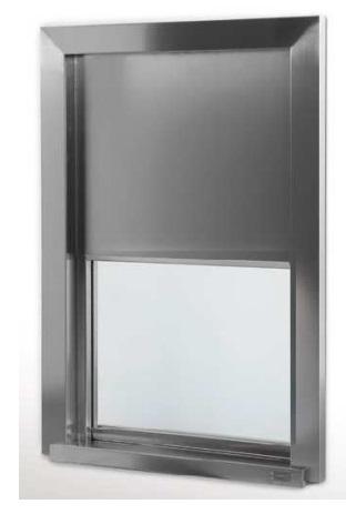 Передаточное окно изготовленное из нержавеющей стали и защитное стекло