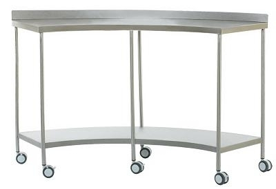 Лабораторный стол металлический серповидный на колесах 4020