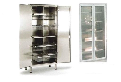 Шкаф из нержавеющей стали для хранения стерильного материала, стеклянные двери - 10 корзин из нержавеющей стали