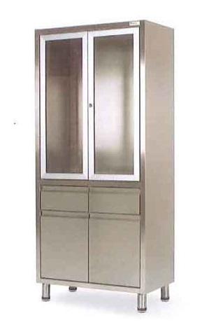 Шкаф медицинский из нержавеющей стали с 2 ящиками 2 стеклянными створками