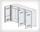 Шкаф-раздевалка из окрашенной стали 3-местный с отделениями для чистого и грязного белья