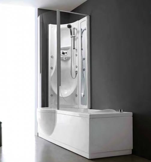 Удобная душевая ванна-кабина с прознанным стеклянным ограждением Treesse Simona Box