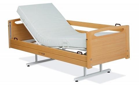 Палатная медицинская кровать с фиксированной высотой (деревянные торцы и боковые ограждения) Lojer Alli-F