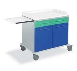 Медицинская тележка с 2 ящиками и 2 створками из технополимера с выдвижной подставкой 16-FT910