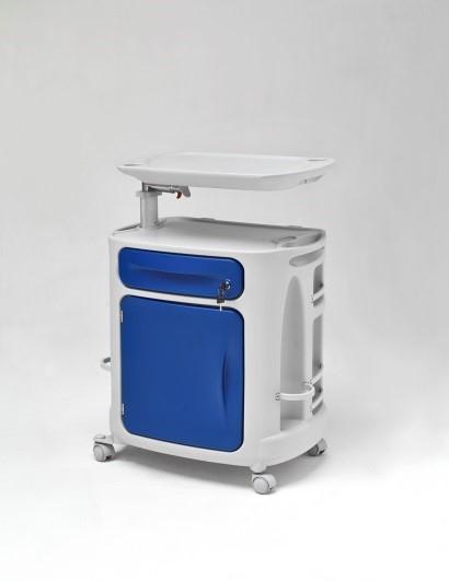 Медицинская тумбочка односторонняя с реверсивной дверцей на колесах 14-CP261 (Вариант 3)