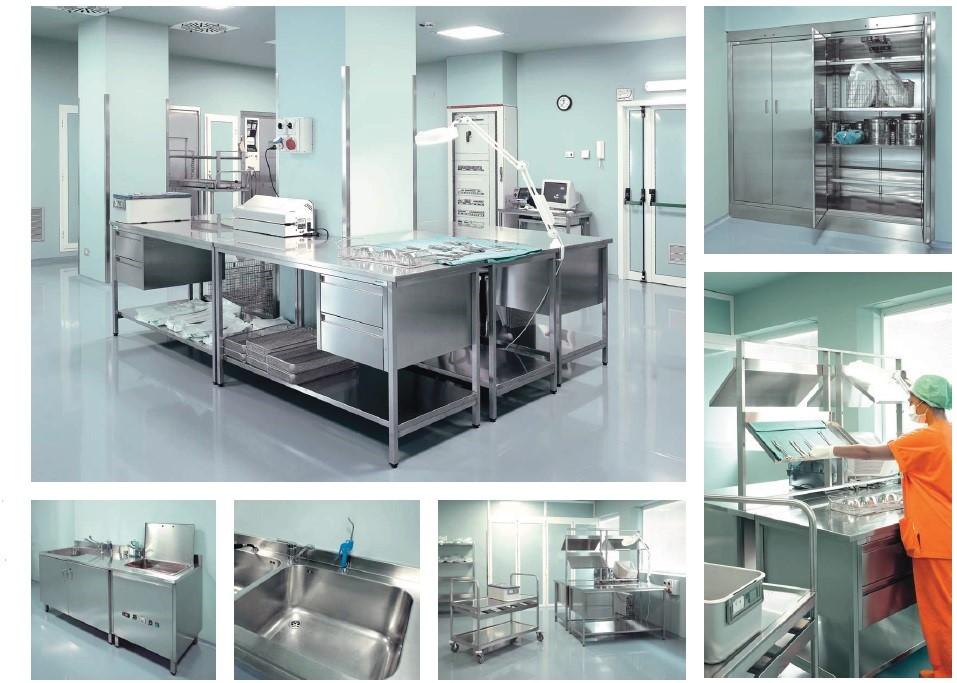 Металлическая мебель медицинская из нержавеющей стали