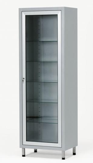 Медицинский инструментальный одностворчатый металлический шкаф с одной стеклянной дверцей 13-FP243