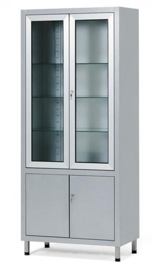 Шкаф инструментальный медицинский двухстворчатый со стеклянными дверцами вверху и глухими дверцами внизу 13-FP246