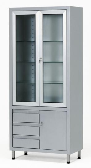 Инструментальный медицинский двухстворчатый стеклянный шкаф 13-FP248