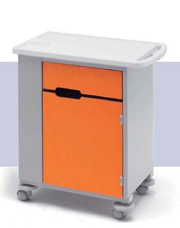 Тумба медицинская прикроватная односторонняя на колесах (подкатная) 14-СР250 Вариант 1