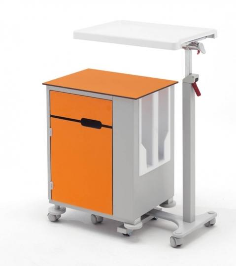 Медицинская тумба прикроватная металлическая односторонняя с независимым столиком 14-CP361 (14-CP285 Вариант 5)