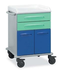 Медицинская тележка с 2 ящиками и 2 створками из технополимера 16-FT650