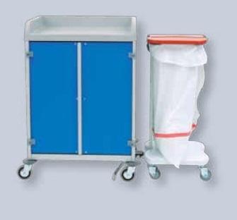 Медицинские тележки на колесах с креплением к мешкодержателям