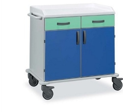 Медицинская тележка раздаточная с 2 ящиками и 2 створками из баламината 16-FP915