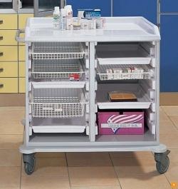 Медицинская тележка для раздачи лекарств с лотками и корзинами 16-FT990