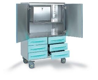 Медицинская тележка для операционной из нержавеющей стали с сейфом и шестью ящиками 16-SO920
