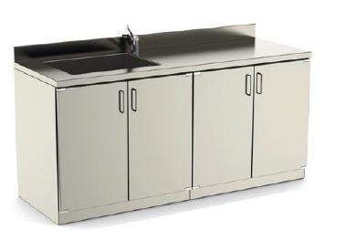Стол-мойка медицинская - одинарная и двойная раковина с сушилкой для посуды (рычажное управление)