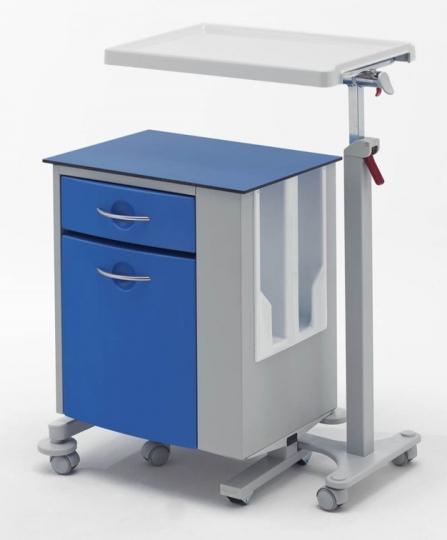 Тумбочка медицинская двухсторонняя металлическая с независимым столиком 14-CT363