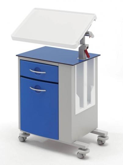 Медицинская односторонняя тумбочка на колесах со встроенным наклонным столиком