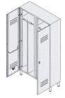 Шкаф-раздевалка из окрашенной стали 2-местный с отделениями для чистого и грязного белья