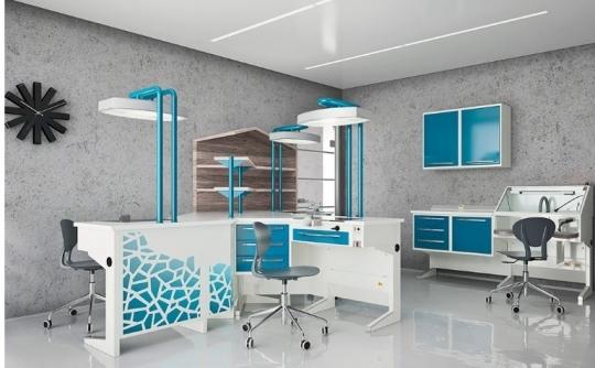 Бело-голубой комплект мебели для зуботехнической лаборатории