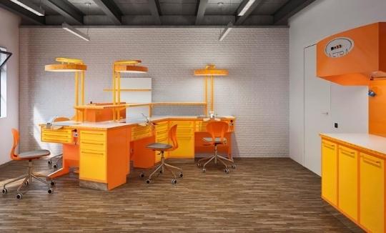 Мебель для зуботехнической лаборатории в солнечном дизайне