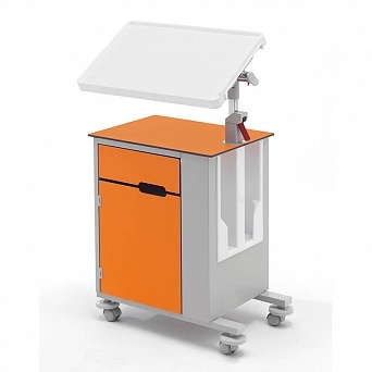 Медицинская тумбочка двухсторонняя на колесах с наклонным столиком 14-CP263 (Вариант 3)