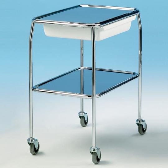 Тележка медицинская инструментальная на колесиках (с ящиком для принадлежностей) 611