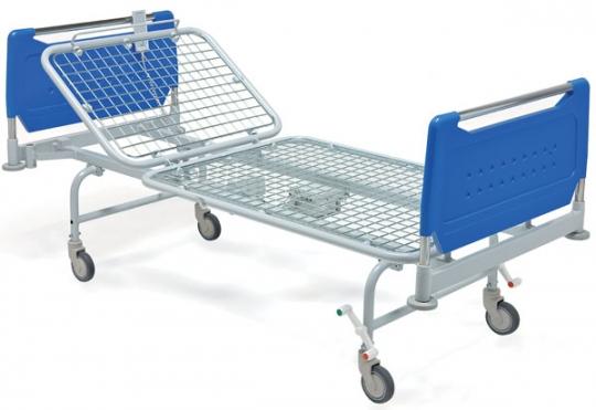 Медицинская металлическая двухсекционная кровать на колесах 11-CP131