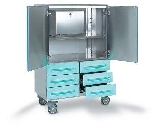 Медицинская тележка для операционной из нержавеющей стали с сейфом 6 ящиками 16-SO920