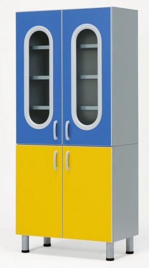 Шкаф для хранения медикаментов фармацевтический со стеклянными дверцами вверху и глухими внизу 23-РА246